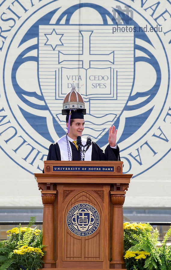 May 18, 2014; Mark Santrach, valedictorian of the 2014 graduating class, delivers the valedictory address during the University Commencement ceremonies in the Notre Dame Stadium. Photo by Barbara Johnston/University of Notre Dame