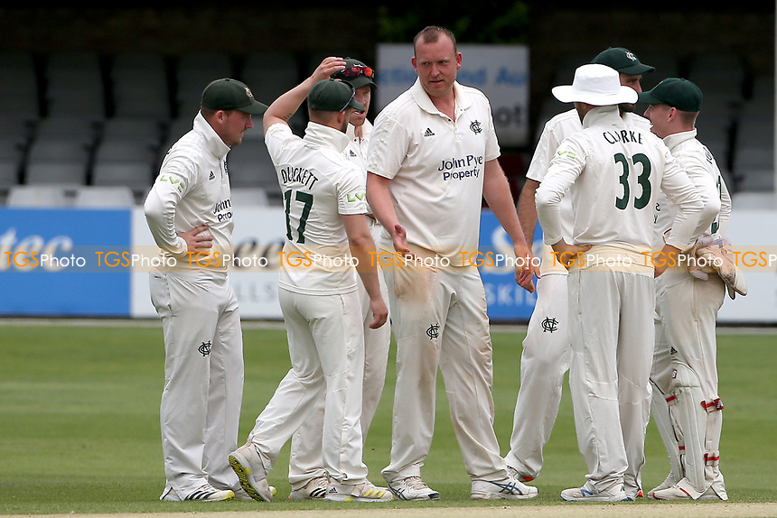 Luke Fletcher of Nottinghamshire celebrates with his team mates after taking the wicket of Simon Harmer during Essex CCC vs Nottinghamshire CCC, LV Insurance County Championship Group 1 Cricket at The Cloudfm County Ground on 6th June 2021
