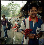 August 2000. Jakarta, Indonesia. A wild parrot from the Malukku islands is for sale on Jalan Balito in Jakarta. The parrot is endangered and since Suhartos downfall the endangered animal business has proliferated because of government corruption and inability to police the industry