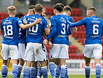 St Johnstone v St Mirren……29.08.20   McDiarmid Park  SPFL<br />Stevie May celebrates his goal<br />Picture by Graeme Hart.<br />Copyright Perthshire Picture Agency<br />Tel: 01738 623350  Mobile: 07990 594431