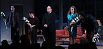 """David Furr, Brandon Uranowitz, Keri Russell, Adam Driver during the Broadway Opening Night Curtain Call for Landford Wilson's """"Burn This""""  at Hudson Theatre on April 15, 2019 in New York City."""
