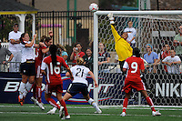 Canada (CAN) goalkeeper Karina LeBlanc (1) punches a ball clear. The United States (USA) Women's National Team defeated Canada (CAN) 1-0 during an international friendly at Marina Auto Stadium in Rochester, NY, on July 19, 2009.