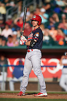 Peoria Chiefs second baseman Andrew Sohn (5) at bat during a game against the Lansing Lugnuts on June 6, 2015 at Cooley Law School Stadium in Lansing, Michigan.  Lansing defeated Peoria 6-2.  (Mike Janes/Four Seam Images)