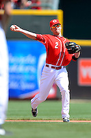 Cincinnati Reds shortstop Zack Cozart #2 throws to first during a game against the Miami Marlins at Great American Ball Park on April 20, 2013 in Cincinnati, Ohio.  Cincinnati defeated Miami 3-2 in 13 innings.  (Mike Janes/Four Seam Images)