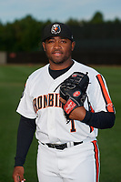 Aberdeen IronBirds pitcher Shelton Perkins (1) poses for a photo before a NY-Penn League game against the Vermont Lake Monsters on August 19, 2019 at Leidos Field at Ripken Stadium in Aberdeen, Maryland.  Aberdeen defeated Vermont 6-2.  (Mike Janes/Four Seam Images)