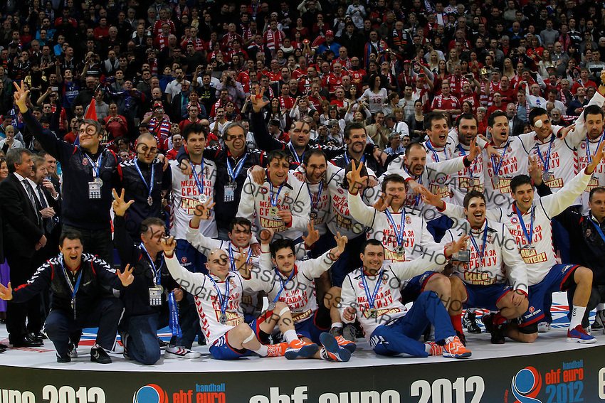 during men`s EHF EURO 2012 handball championship final game between Serbia and Denmark in Belgrade, Serbia, Sunday, January 29, 2011.  (photo: Pedja Milosavljevic / thepedja@gmail.com / +381641260959)