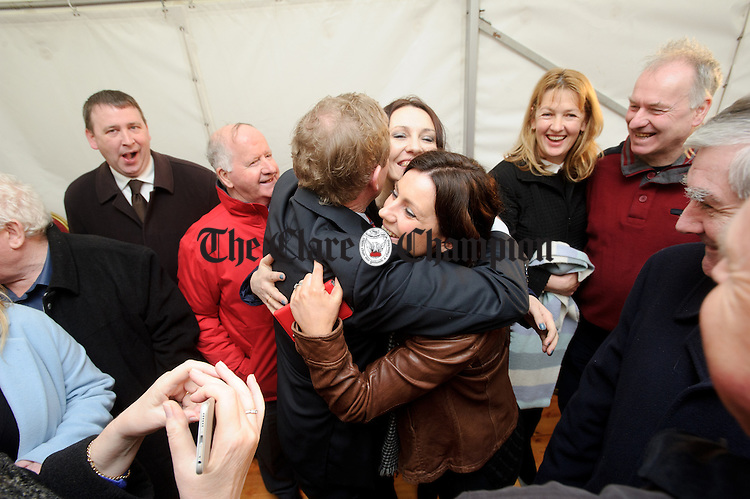 Enda Kenny, Taoiseach is greeted by local business women Ailish Connolly and Liz Greehy during his visit to Loop Head to launch the Fine Gael tourism initiative. Photograph by John Kelly.