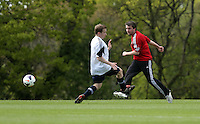 Pictured: Tuesday 06 May 2014<br /> Re: Members of the local press play football against Swansea City FC coaches and members of staff at the Club's training ground in Fairwood, south Wales.