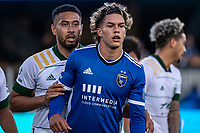 SAN JOSE, CA - MAY 15: Bill Tuiloma #25 of the Portland Timbers and Cade Cowell #44 of the San Jose Earthquakes line up for a corner kick during a game between San Jose Earthquakes and Portland Timbers at PayPal Park on May 15, 2021 in San Jose, California.