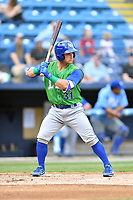 Lexington Legends catcher Nick Dini (31) awaits a pitch during a game against the Asheville Tourists at McCormick Field on May 29, 2017 in , North Carolina. The Legends defeated the Tourists 6-2. (Tony Farlow/Four Seam Images)