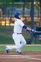 AZL Dodgers left fielder Kyle Garlick (6) follows through on his swing during a rehab start against the AZL Brewers on July 25, 2017 at Camelback Ranch in Glendale, Arizona. AZL Dodgers defeated the AZL Brewers 8-3. (Zachary Lucy/Four Seam Images)