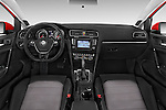 Stock photo of straight dashboard view of a 2015 Volkswagen Golf Highline 5 Door Wagon 2WD Dashboard