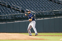 AZL Brewers third baseman Julian Jarrard (39) warms up between innings during a game against the AZL Cubs on August 6, 2017 at Sloan Park in Mesa, Arizona. AZL Cubs defeated the AZL Brewers 8-7. (Zachary Lucy/Four Seam Images)