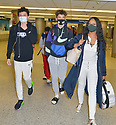 MIAMI, FL - JULY 15: (EXCLUSIVE COVERAGE) Garcelle Beauvais (R) is seen at Miami International Airport with her son Jaid Thomas Nilon and Jax Joseph Nilon on July 15, 2021 in Miami, Florida.  (Photo by Vallery Jean / jlnphotography.com )