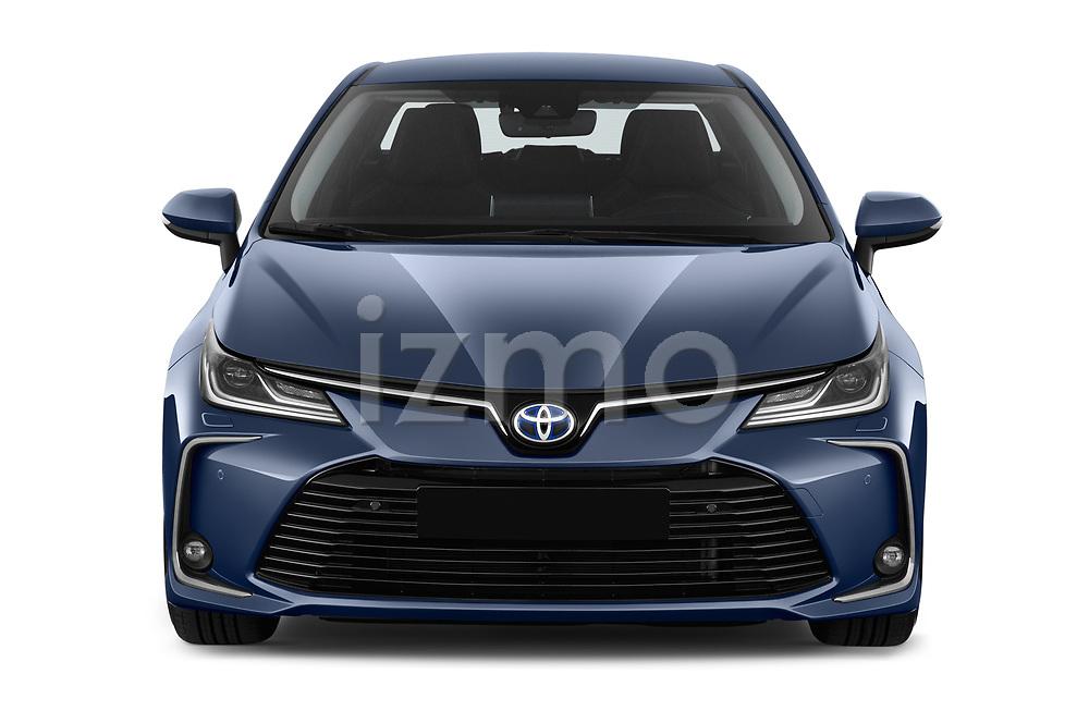 Car photography straight front view of a 2019 Toyota Corolla  Premium 4 Door Sedan