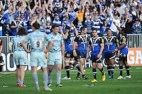 Bath Rugby players celebrate in front ot the home fans during the Aviva Premiership match between Bath Rugby and Leicester Tigers at The Recreation Ground on Saturday 20th April 2013 (Photo by Rob Munro)