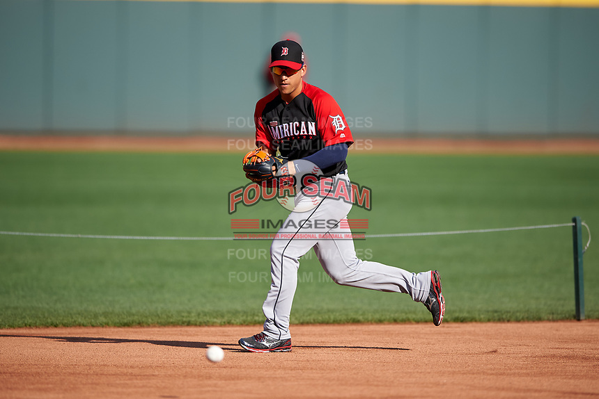 Detroit Tigers Jose Iglesias during MLB All-Star Game Practice on July 13, 2015 at Great American Ball Park in Cincinnati, Ohio.  (Mike Janes/Four Seam Images)