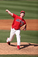 Chandler Murphy (22) of the Arizona Wildcats pitches against the UCLA Bruins at Jackie Robinson Stadium on March 20, 2021 in Los Angeles, California. Arizona defeated UCLA, 7-3. (Larry Goren/Four Seam Images)