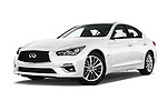 Stock pictures of low aggressive front three quarter view of a 2018 Infiniti Q50 Premium 4 Door Sedan