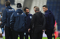 Manager of Huddersfield Town and Steve Cooper Head Coach of Swansea City exchange words during the Sky Bet Championship match between Huddersfield Town and Swansea City at The John Smith's Stadium in Huddersfield, England, UK. Tuesday 26 November 2019