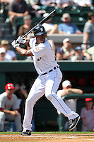 Detroit Tigers outfielder Austin Jackson #14 during a exhibition game vs. the Florida Southern Mocs at Joker Marchant Stadium in Lakeland, Florida;  February 25, 2011.  Detroit defeated Florida Southern 17-5.  Photo By Mike Janes/Four Seam Images