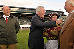 17 October 2009: Mike Battaglia interviews owner Nelson McMakin after his filly Hot Cha Cha won the G1Queen Elizabeth Stakes at Keeneland Race Course in Lexington, Kentucky.