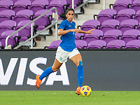 ORLANDO, FL - FEBRUARY 24: Rafaelle #4 of Brazil dribbles during a game between Brazil and Canada at Exploria Stadium on February 24, 2021 in Orlando, Florida.