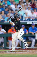 Coastal Carolina Chanticleers shortstop Michael Paez (1) at bat against the Florida Gators in Game 4 of the NCAA College World Series on June 19, 2016 at TD Ameritrade Park in Omaha, Nebraska. Coastal Carolina defeated Florida 2-1. (Andrew Woolley/Four Seam Images)