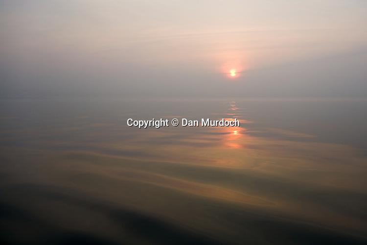 misty morning sunrise over Long Island Sound