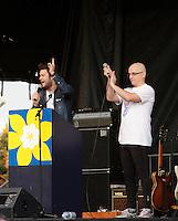 Montreal (QC) CANADA - June 8 2012 -  Relai pour la vie de la Societe canadienne du cancer  2012 - Montreal-Centre au Parc Maisonneuve -  Maxime Charbonneau, MC (L), Dr Alain Vadeboncoeur (R)