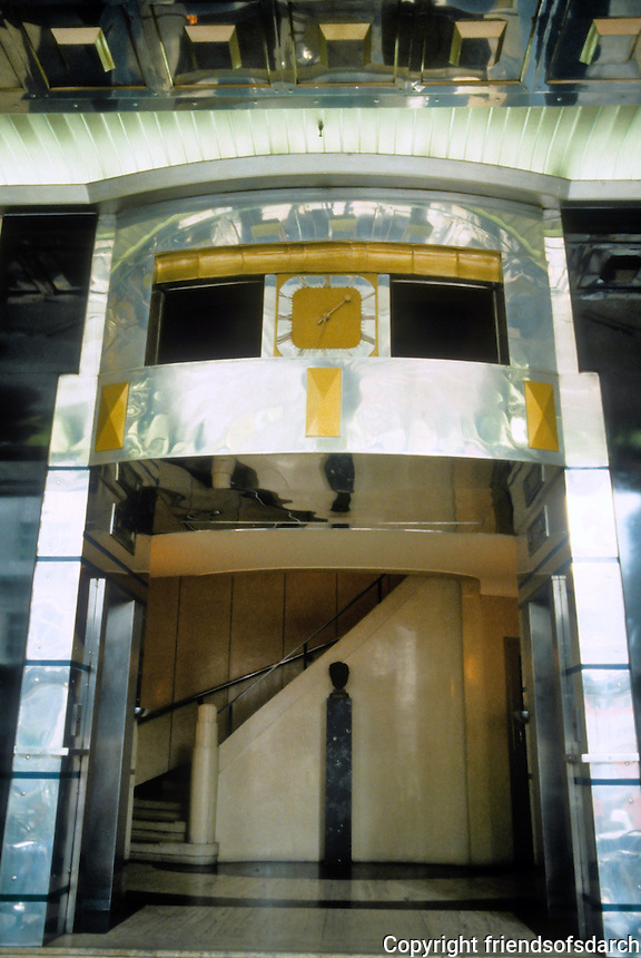 """Sir Owen Williams: Daily Express Building, London 1932. Entrance hall by Ronald Atkinson.  """"in the spirit of the entrance to Cleopatra's tomb"""" (?) Photo '87."""