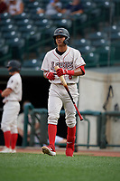 Great Lakes Loons Leonel Valera (8) during a Midwest League game against the Clinton LumberKings on July 19, 2019 at Dow Diamond in Midland, Michigan.  Clinton defeated Great Lakes 3-2.  (Mike Janes/Four Seam Images)