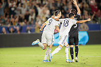 CARSON, CA - SEPTEMBER 21: Zlatan Ibrahimovic #9 and Uriel Antuna #18 of the Los Angeles Galaxy celebrate an Zlatan Ibrahimovic #9 goal during a game between Montreal Impact and Los Angeles Galaxy at Dignity Health Sports Park on September 21, 2019 in Carson, California.
