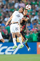 PASADENA, CA – June 25, 2011: USA player Alejandro Bedoya (22) and Mexican player Jorge Torres Nilo (20) during the Gold Cup Final match between USA and Mexico at the Rose Bowl in Pasadena, California. Final score USA 2 and Mexico 4.