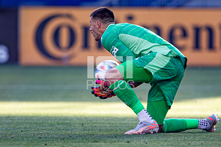 CARSON, CA - MAY 8: Jonathan Bond #1 of the Los Angeles Galaxy with a save during a game between Los Angeles FC and Los Angeles Galaxy at Dignity Health Sports Park on May 8, 2021 in Carson, California.