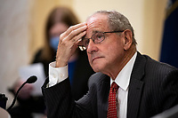 United States Senator Jim Risch (Republican of Idaho), listens during a US Senate Small Business and Entrepreneurship Committee hearing in Washington, D.C., U.S., on Wednesday, June 10, 2020. The hearing examines the government's virus relief package that offers emergency assistance to small businesses. <br /> Credit: Al Drago / Pool via CNP/AdMedia