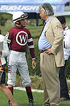 April 10, 2015: Jockey John Velazquez talking racing with trainer Steve Asmussen before the running of the Apple Blossom Handicap at Oaklawn Park in Hot Springs, AR. Justin Manning/ESW/CSM