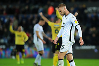 Mike van der Hoorn of Swansea City looks dejected during the Sky Bet Championship match between Swansea City and Millwall at the Liberty Stadium in Swansea, Wales, UK. Saturday 23rd November 2019