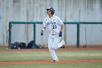 Braxton Giavedoni (23) of the Penn State Nittany Lions jogs home after a home run against the Xavier Musketeers at Coleman Field at the USA Baseball National Training Center on February 25, 2017 in Cary, North Carolina. The Musketeers defeated the Nittany Lions 7-5 in game two of a double header. (Brian Westerholt/Four Seam Images)