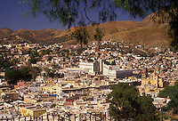 "AJ1910, Mexico, Guanajuato, capital city, Aerial view of Guanajuato """"Place of Frogs"""" in the state of Guanajuato."