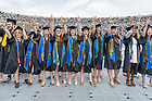 May 23, 2021; Graduates sing the alma mater at the end of the 176th Commencement Ceremony at Notre Dame Stadium. (Photo by Barbara Johnston/University of Notre Dame)