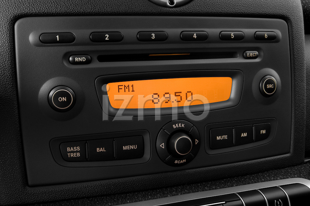 Stereo audio system close up detail view of a 2008 Smartfortwo