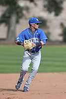Riley Mahan (3) of the Kentucky Wildcats in the field during a game against the UC Santa Barbara Gauchos at Caesar Uyesaka Stadium on March 20, 2015 in Santa Barbara, California. UC Santa Barbara defeated Kentucky, 10-3. (Larry Goren/Four Seam Images)