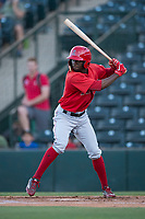 AZL Angels center fielder D'Shawn Knowles (20) at bat during an Arizona League game against the AZL Athletics at Tempe Diablo Stadium on June 26, 2018 in Tempe, Arizona. The AZL Athletics defeated the AZL Angels 7-1. (Zachary Lucy/Four Seam Images)