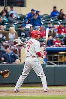 Rafael Ortega (3) of the Memphis Redbirds at bat against the Omaha Storm Chasers in Pacific Coast League action at Werner Park on April 24, 2015 in Papillion, Nebraska.  (Stephen Smith/Four Seam Images)