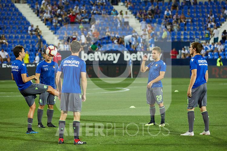 Real Sociedad's players during La Liga match. August 24, 2018. (ALTERPHOTOS/A. Perez Meca)