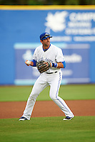Dunedin Blue Jays third baseman Jason Leblebijian (26) throws to first base during a game against the Palm Beach Cardinals on April 15, 2016 at Florida Auto Exchange Stadium in Dunedin, Florida.  Dunedin defeated Palm Beach 8-7 in ten innings.  (Mike Janes/Four Seam Images)