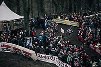 race leader & CX world champion Wout Van Aert (BEL/Crelan-Charles) enjoying the crowds roars in the last lap<br /> <br /> Elite Men's race<br /> UCI CX World Cup Namur / Belgium 2017