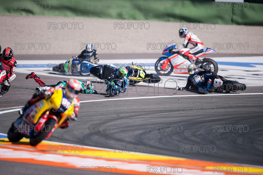 VALENCIA, SPAIN - NOVEMBER 8: Accident during Valencia MotoGP 2015 at Ricardo Tormo Circuit on November 8, 2015 in Valencia, Spain