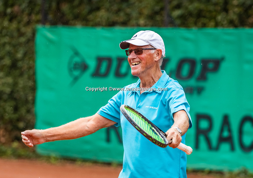 Hilversum, The Netherlands,  August 18, 2020,  Tulip Tennis Center, NKS, National Senior Championships, Men's single 80+  Peter Buter (NED) celebrates his win.<br /> Photo: www.tennisimages.com/Henk Koster